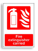 Fire extinguisher carried sign