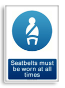 Seatbelts must be worn sign